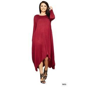 Plus Burgundy Drape Asymmetrical Dress Trapeze